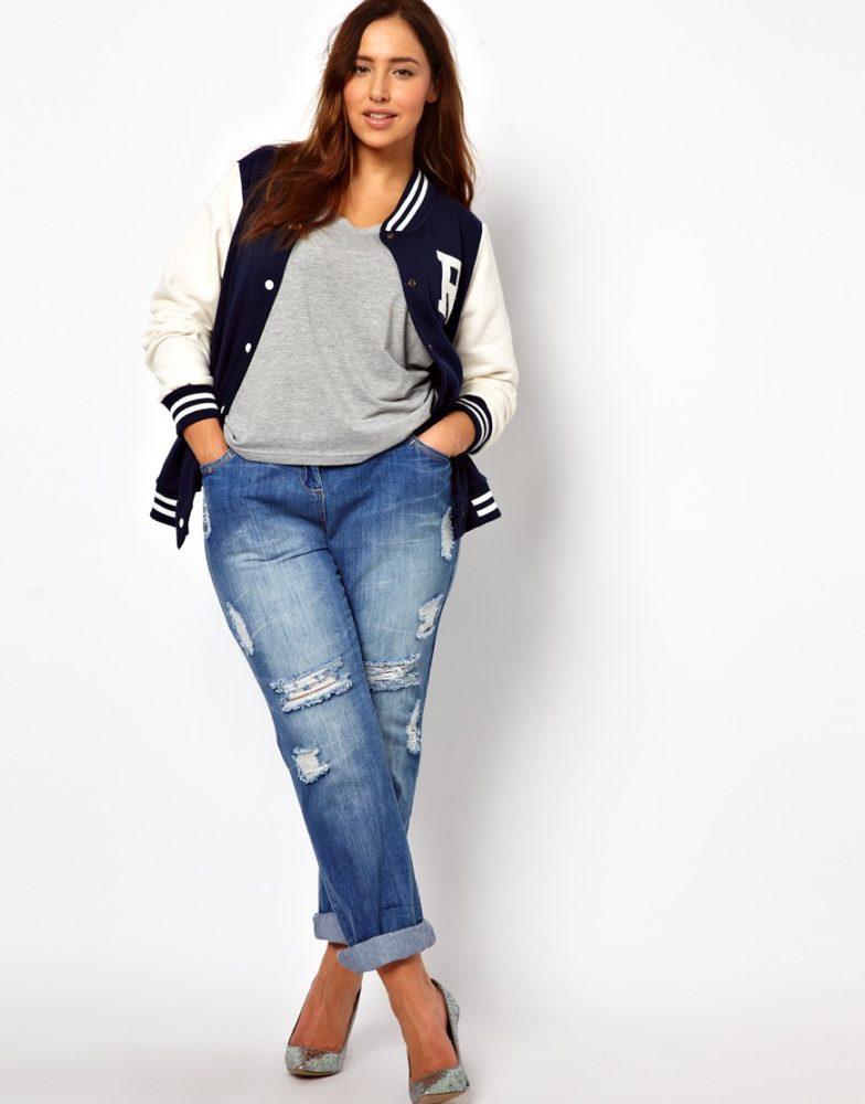 джинсы бойфренд на полных