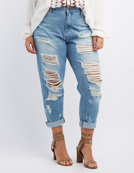 джинсы бойфренда на полных