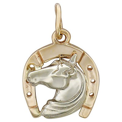 подвеска из золота подкова с лошадью