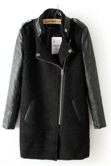 пальто с кожаными рукавами алиэкспресс