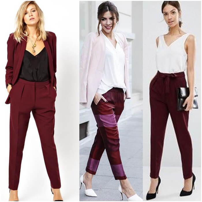 брюки цвета марсала