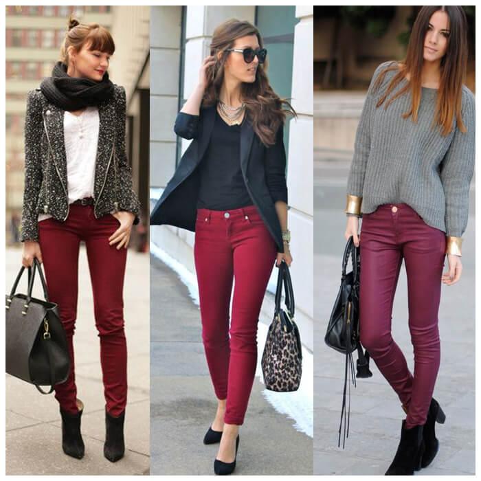 джинсы цвета марсала