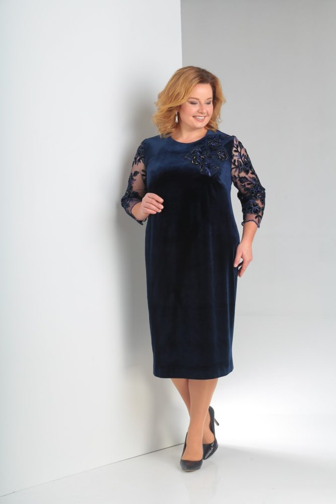фото-синее-бархатное-платье-для-полных-вечернее