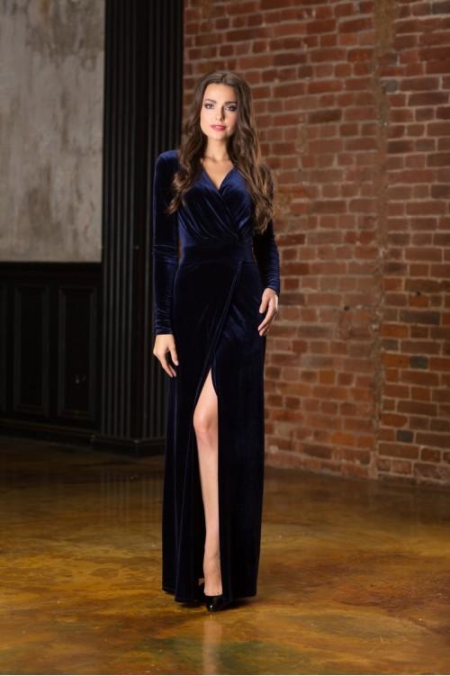 фото-синее-бархатное-платье-макси