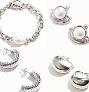 картинка серебро браслеты серьги с жемчугом