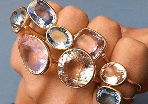 модные кольца, модные кольца с полудрагоценными камнями