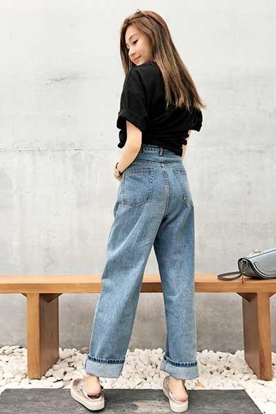 фото джинсы бойфренды с высокой талией модные мода