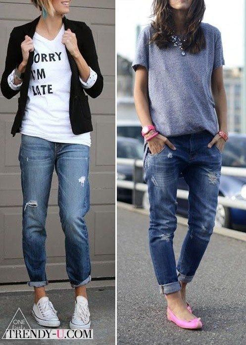 фото модные джинсы бойфренды с белой футболкой