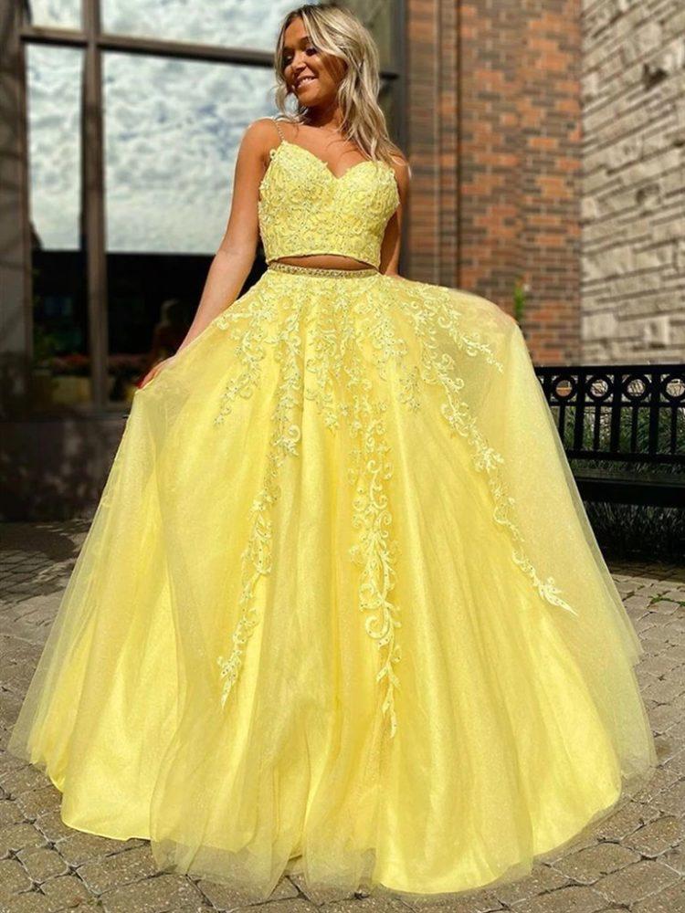 фото выпускное красивое платье желтое 2020 2021