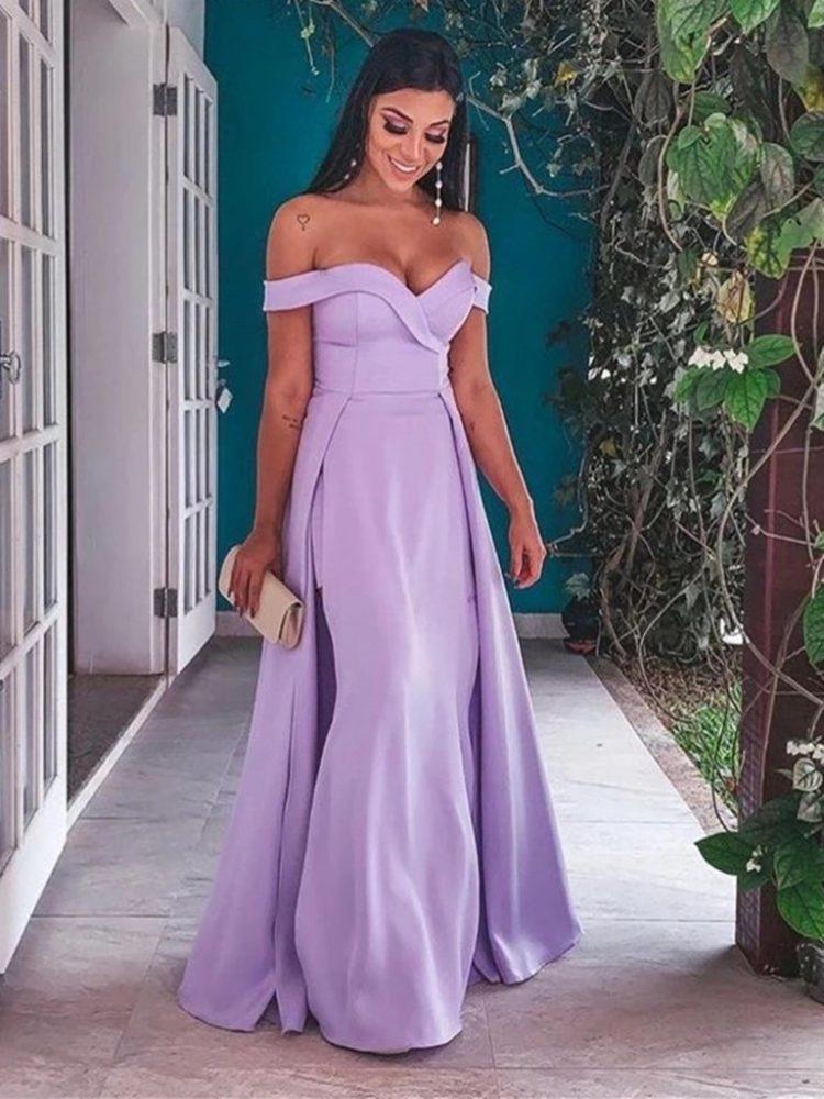 фото выпускное платье с открытыми плечами сиреневое 2020 2021