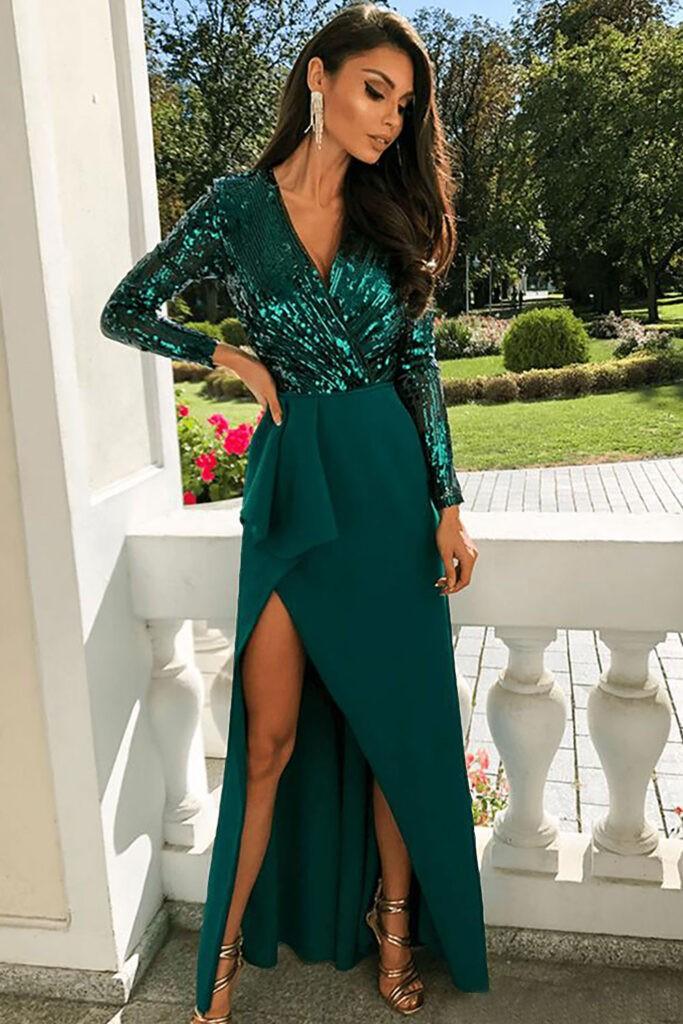 фото платье на выпускной зеленое 2020 2021 длинное