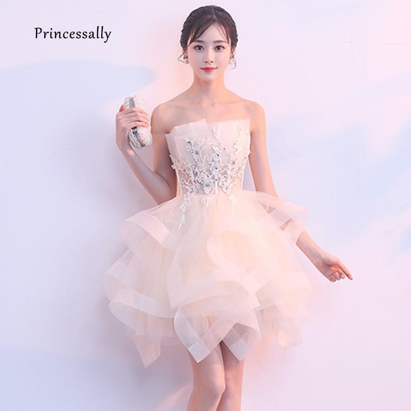 фото короткое белое выпускное платье