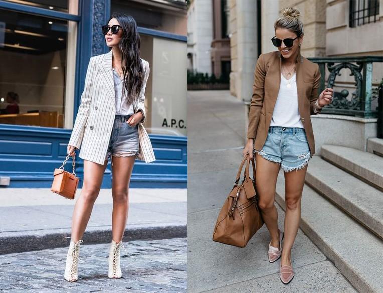 фото джинсовые шорты с пиджаком