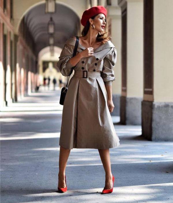 как носить женский берет с пальто