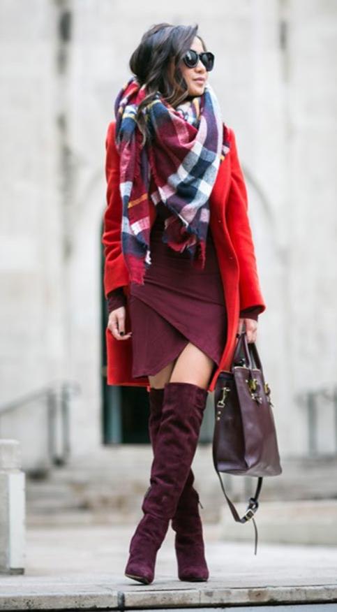 сочетания бордового в одежде