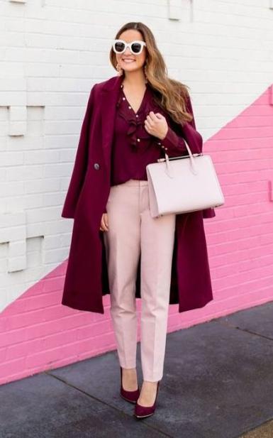 сочетания бордового в одежде с розовым