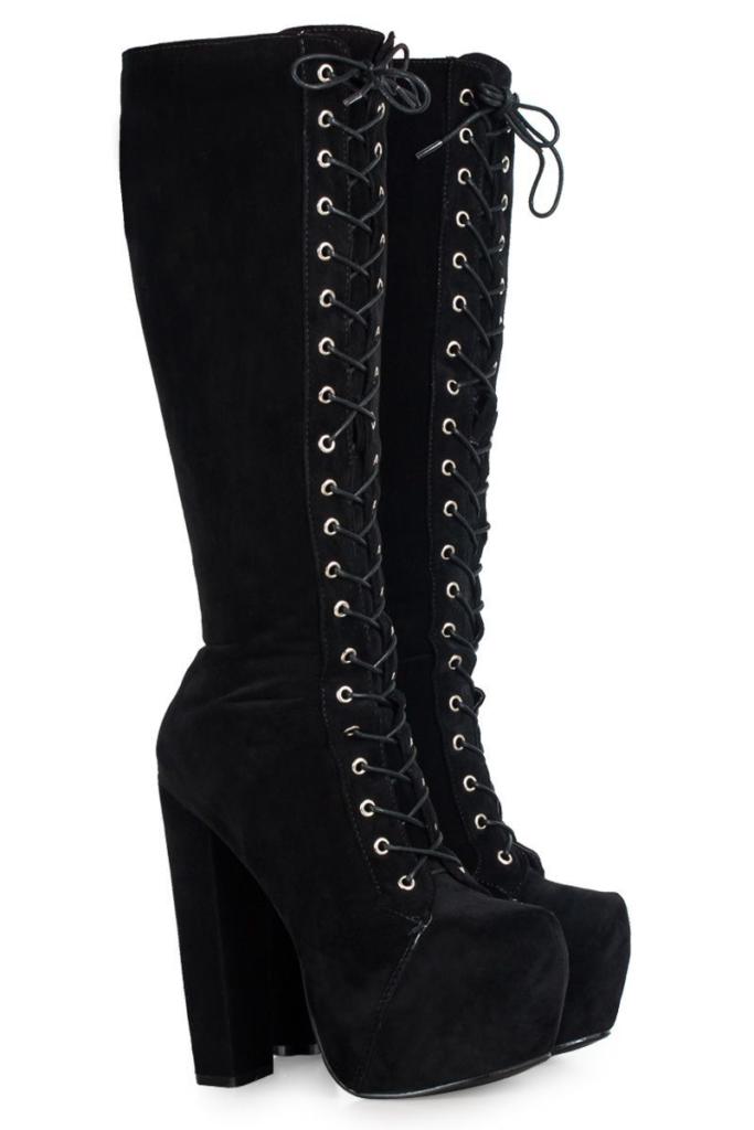 женские высокие ботинки со шнуровкой