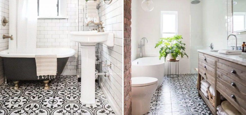 Ванная комната в деревенском стиле с растительными мотивами