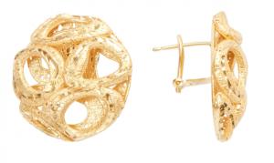 Серьги Fisca из серебра 925 с покрытием желтым золотом