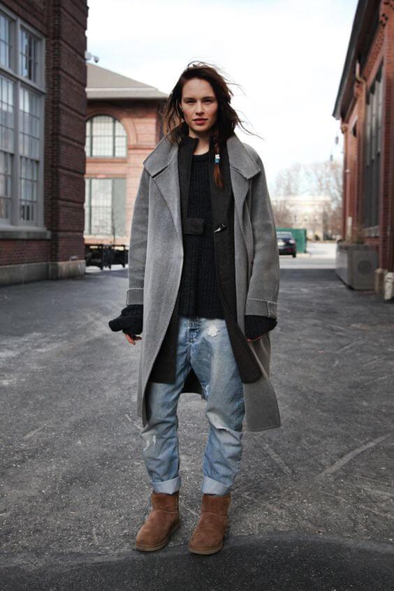 джинсы бойфренды и пальто