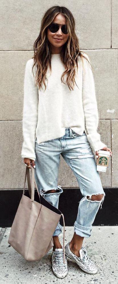джинсы бойфренды с кедами