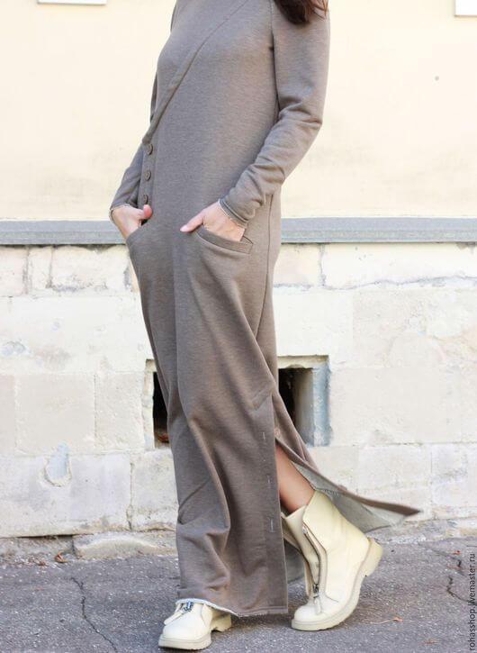 длинное платье осенью с ботинками