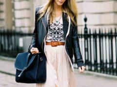 Классные образы с чем носить длинное платье осенью