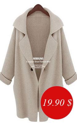 Вязаное пальто - купить всего за 19,90 $. Цвета - бежевый, серый, коричневый
