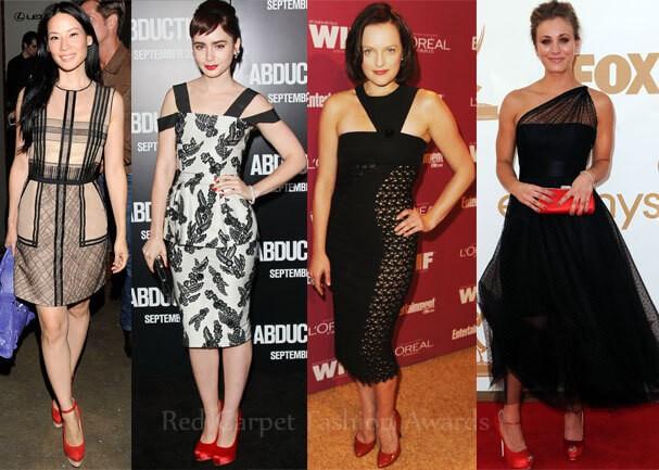 красные туфли черное платье
