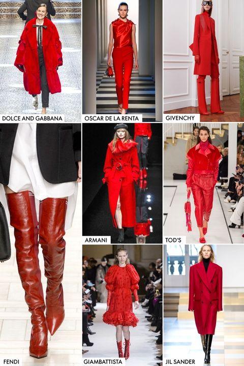 модные тренды осень зима 2017 2018 красный цвет