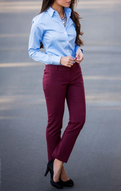 марсала и голубой цвет в одежде
