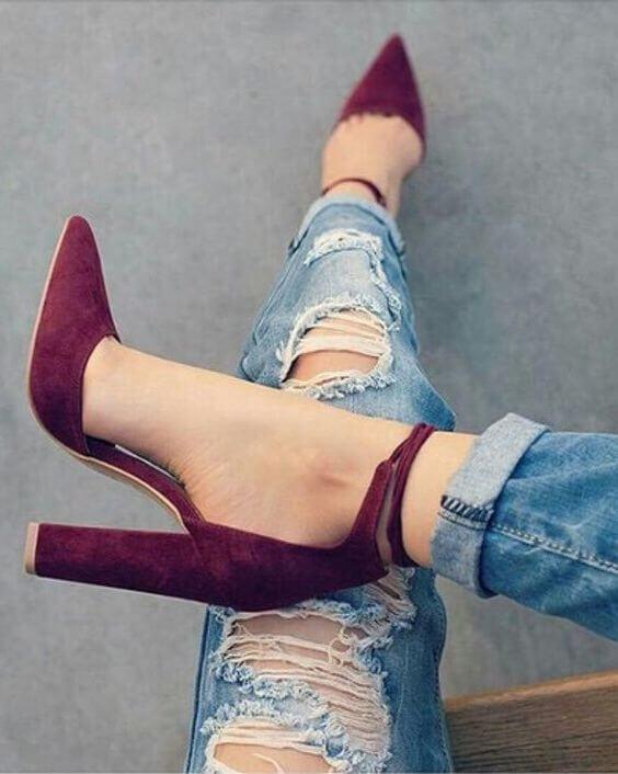 обувь цвета марсала