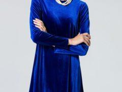 Синее бархатное платье — с чем носить, образы, фото