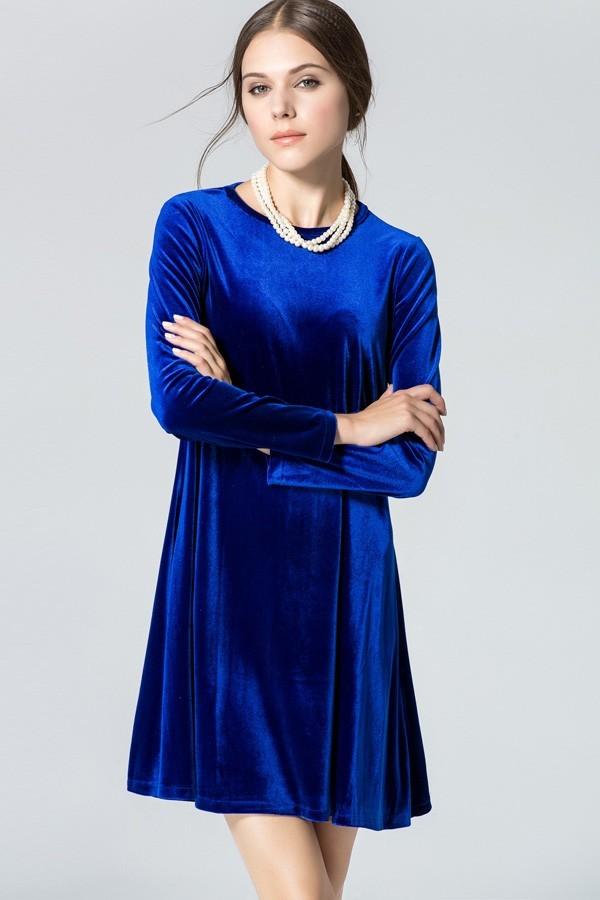 95acb8658262 С чем носить синее бархатное платье